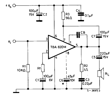 The example schematic for the TBA820M amplifier chip