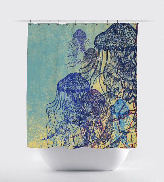 Jellyfish Shower Curtain Nautical Sea Life Water Inspired 12