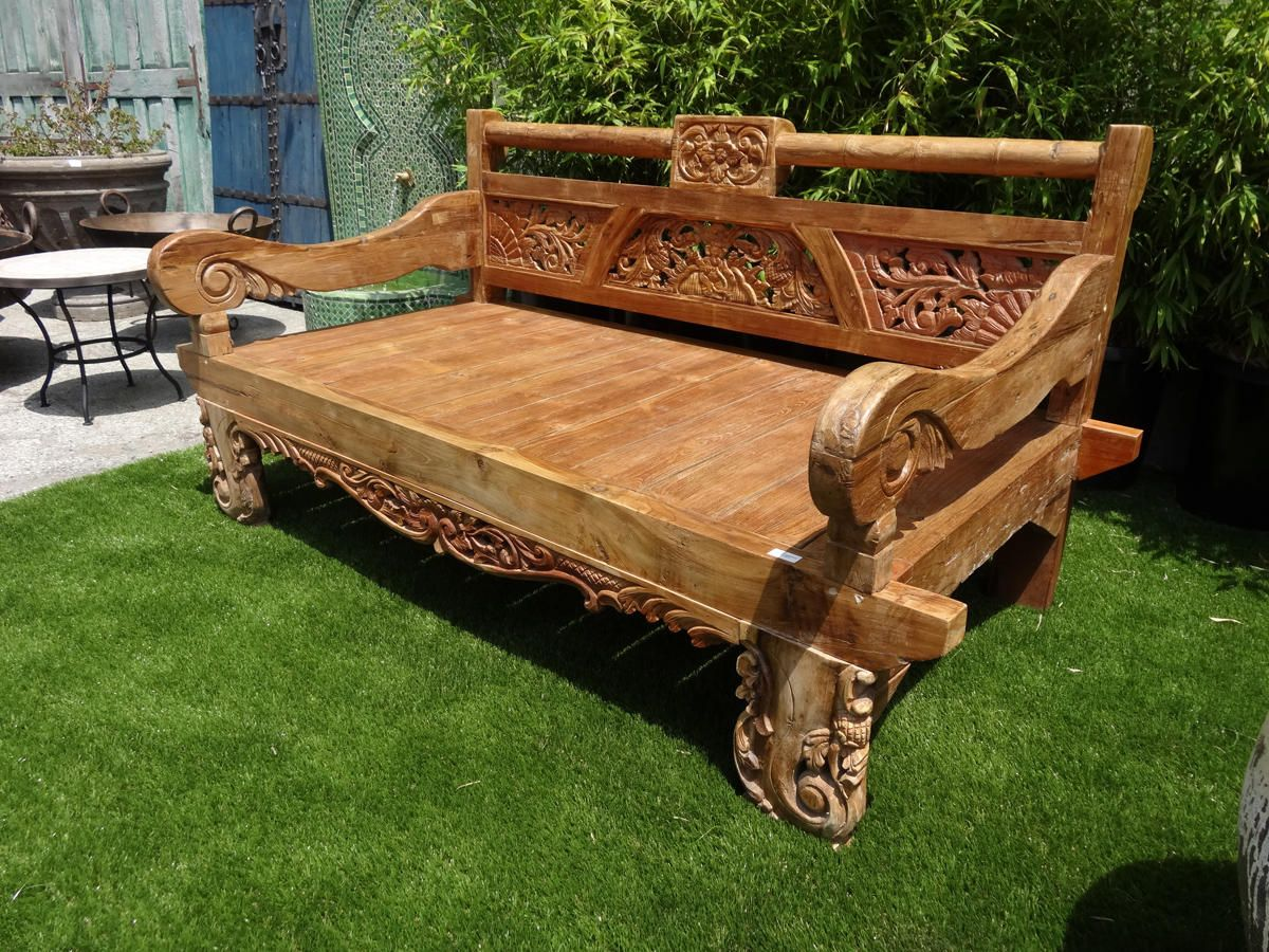 wooden hand chair bali bean bag chairs for babies in uk balinese carved teak daybed flea pop