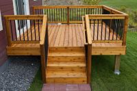 Simple, relatively inexpensive cedar deck with aluminum ...