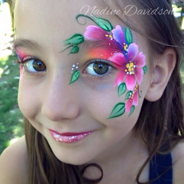 Bright Flower Eye Design Face Painting Paint