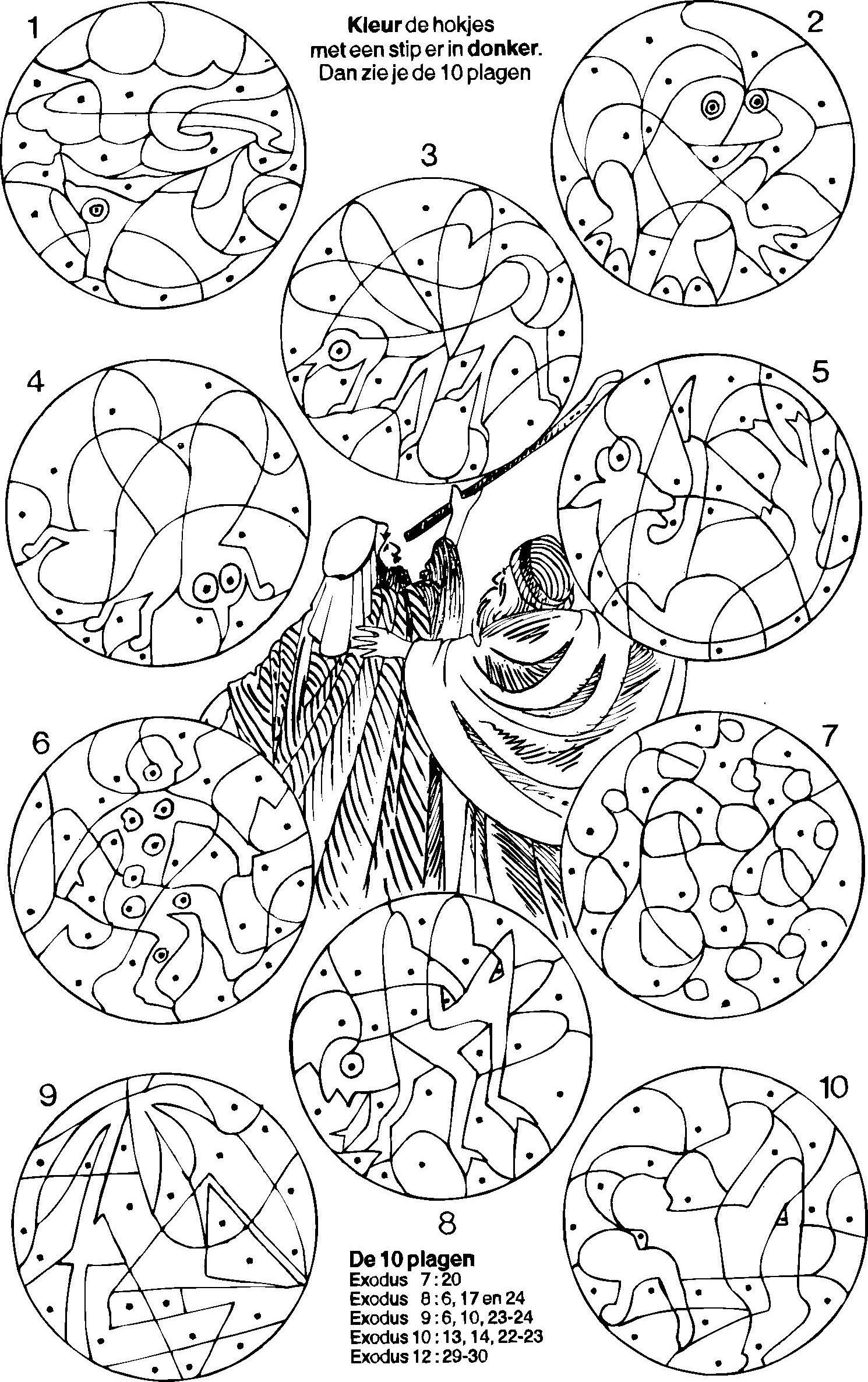 Mozes 10 Plagen Kleur De Vakjes Met Een Stip Moses 10 Plagues Color The Areas With A Dot