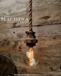 Industrial Rope Pendant Light - Caged Ceiling light ...