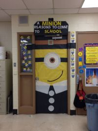 Minion pilgrim classroom door to promote good attendance ...
