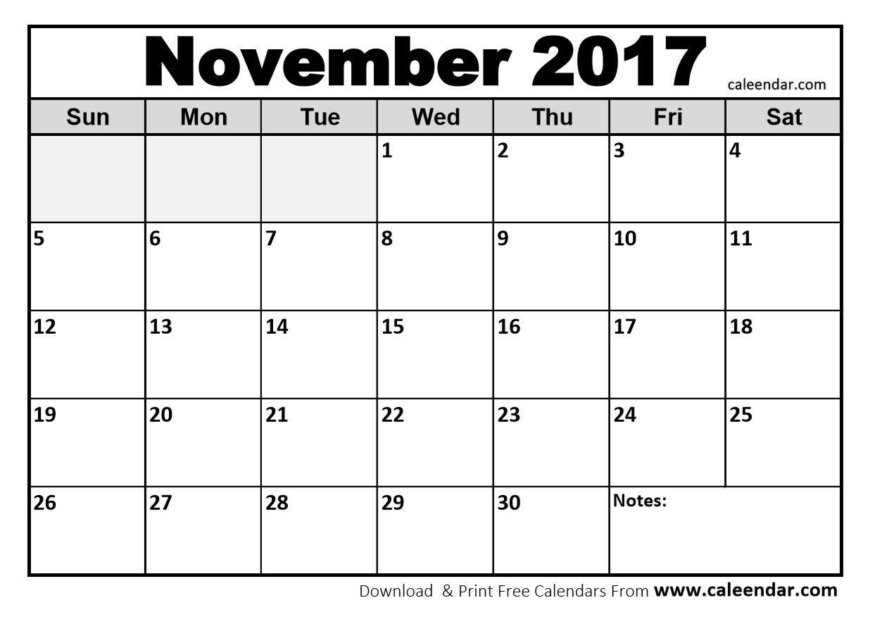 Blank November Calendar In Printable Format