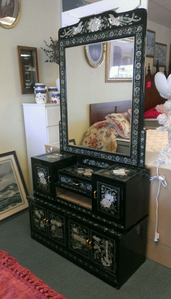 Vintage Asian Oriental Dresser Cabinet Carved & Inlaid