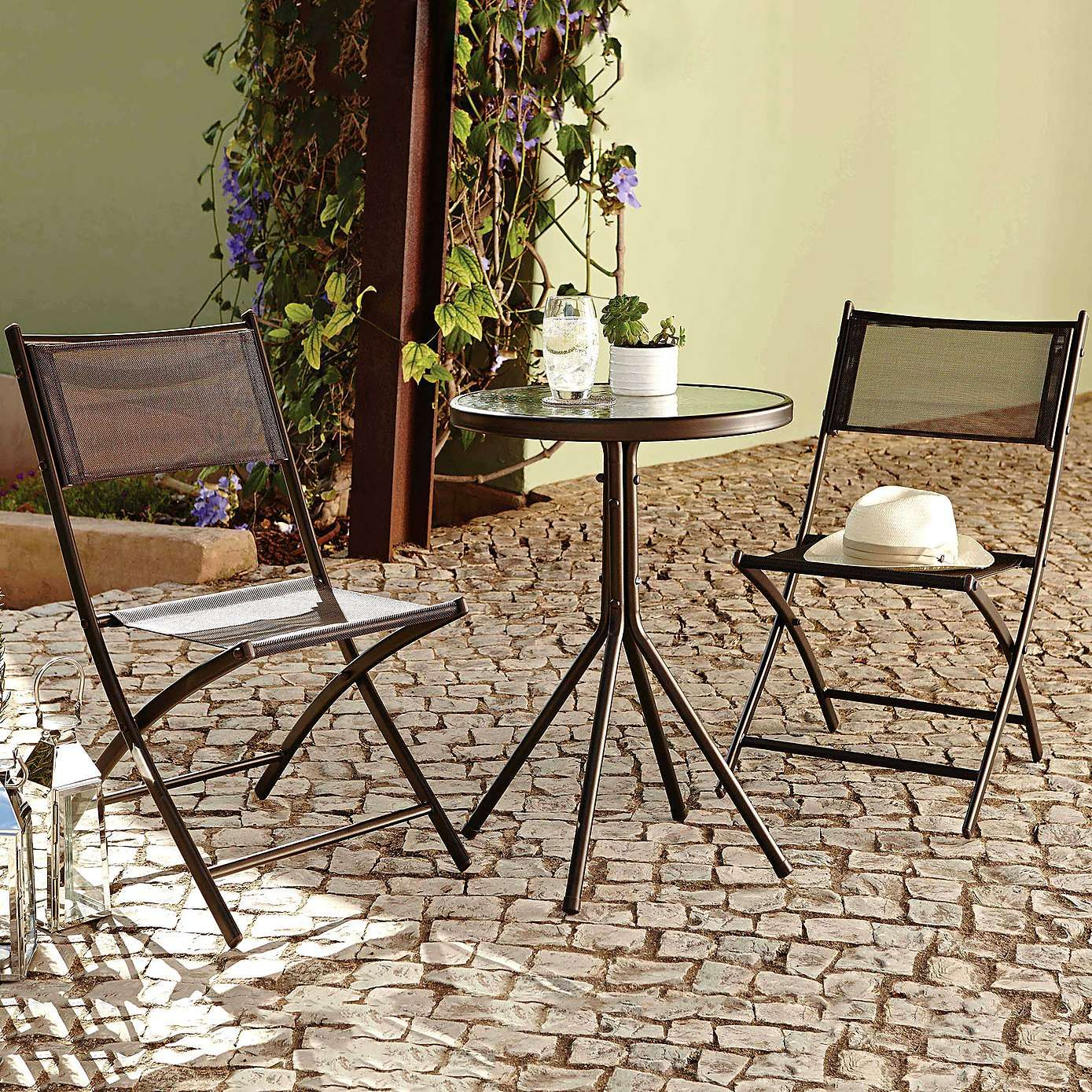 two seater garden table and chairs overstock leather club oslo bistro furniture set dunelm 30