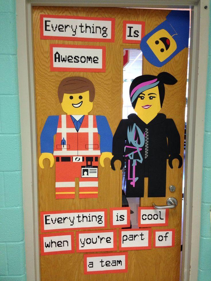 teacher door displays lego