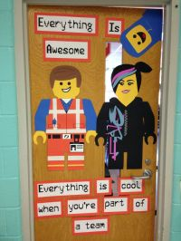 teacher door displays lego
