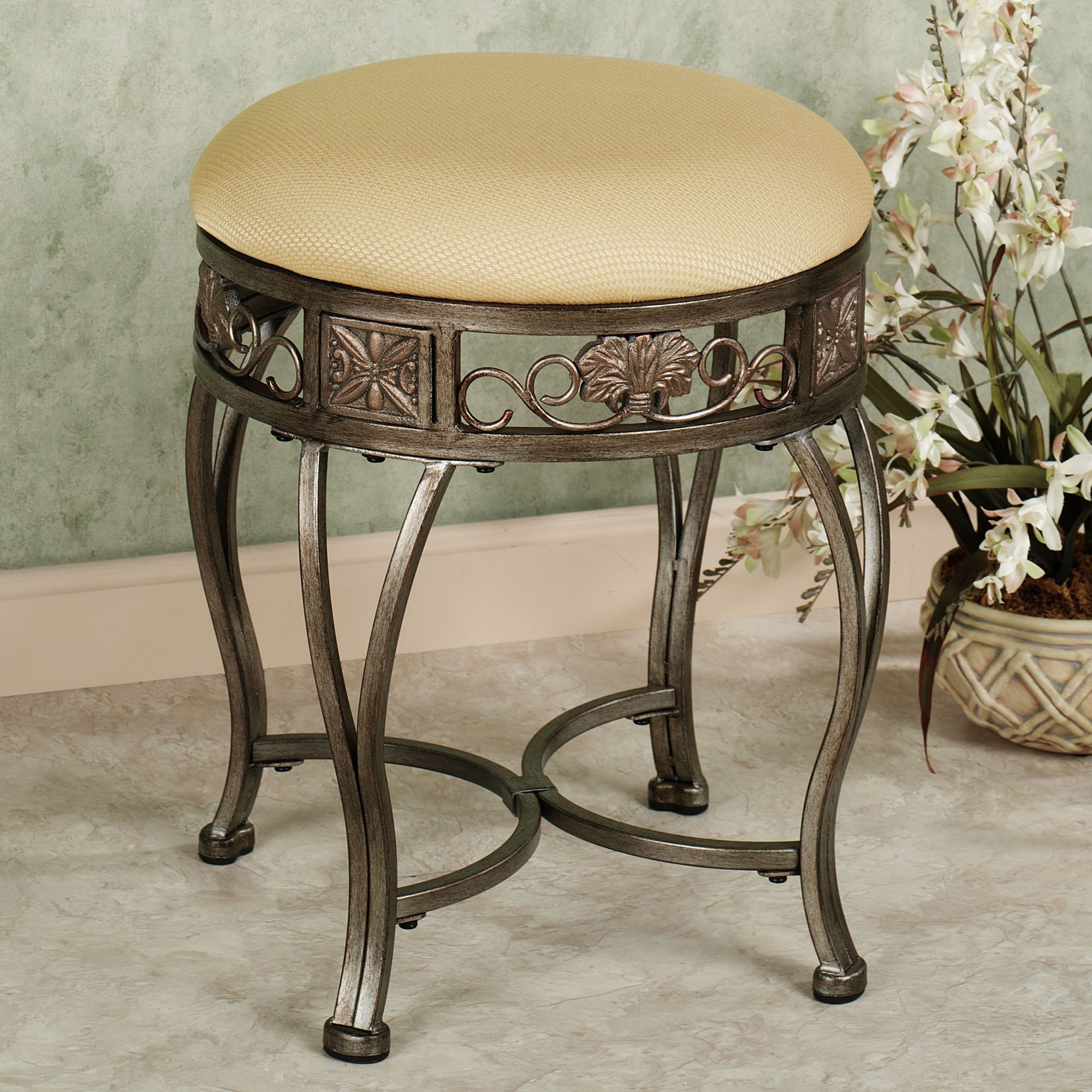 Gold Vanity Chair Hailey Backless Vanity Stool Antique Gold New Home