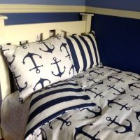 Dorm Twin XL Beach Bedding Set Navy and Stripe and Anchors ...