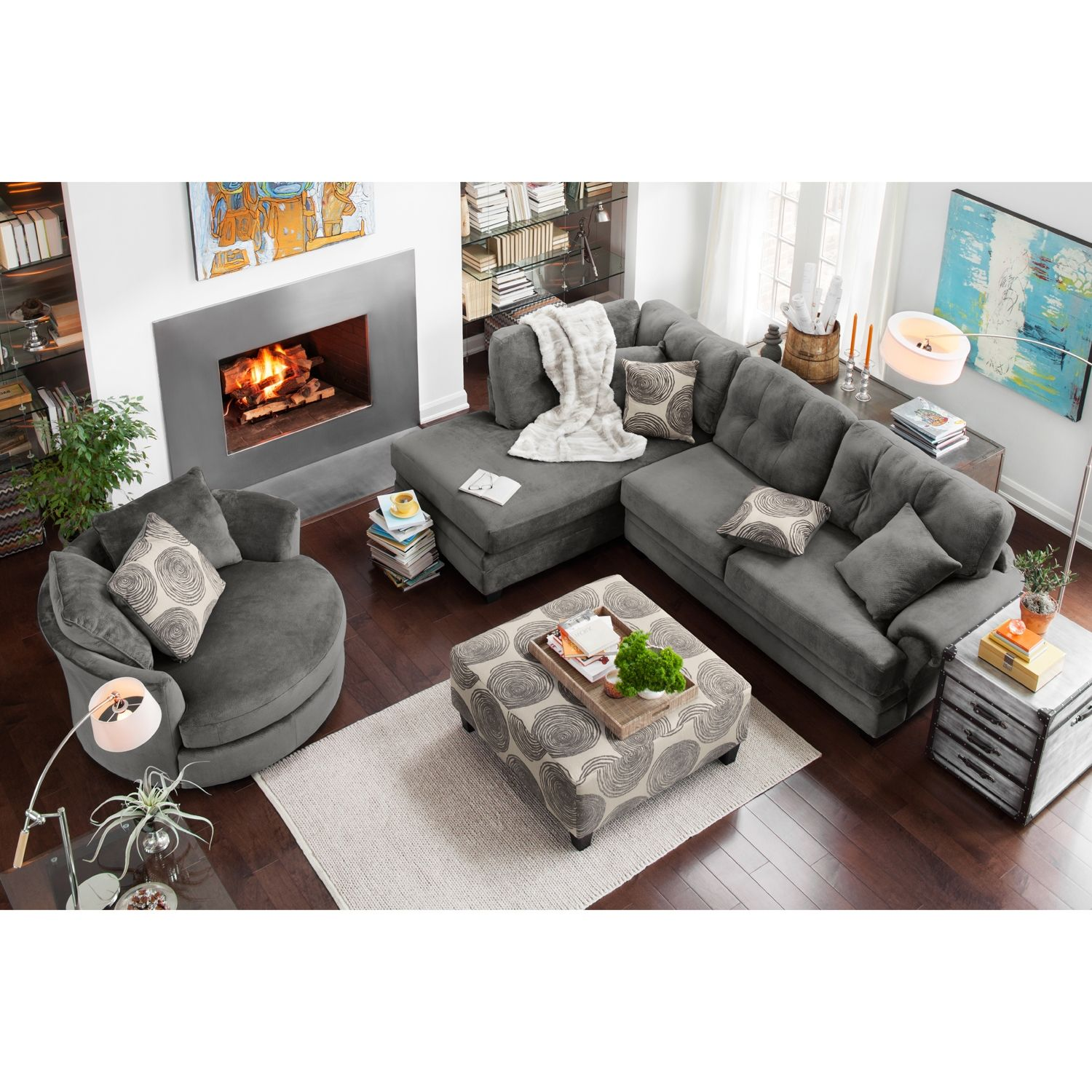 marco gray chaise sofa back cushion designs living room furniture cordelle 2 piece left facing