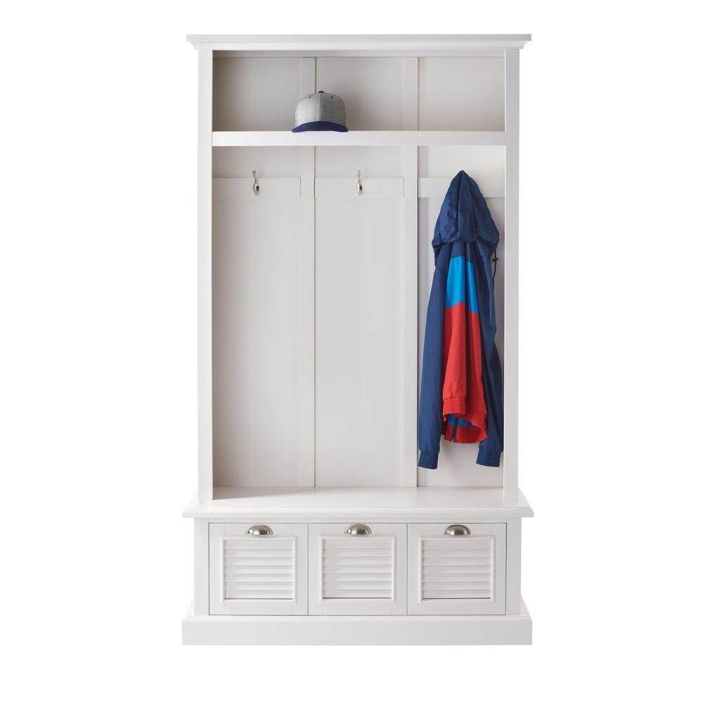 Home Decorators Collection Shutter Polar White Hall Tree Locker
