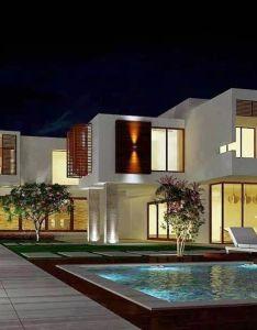 Outdoor pool night evening brand new modern house geometria beautiful white also ng casas rh pinterest