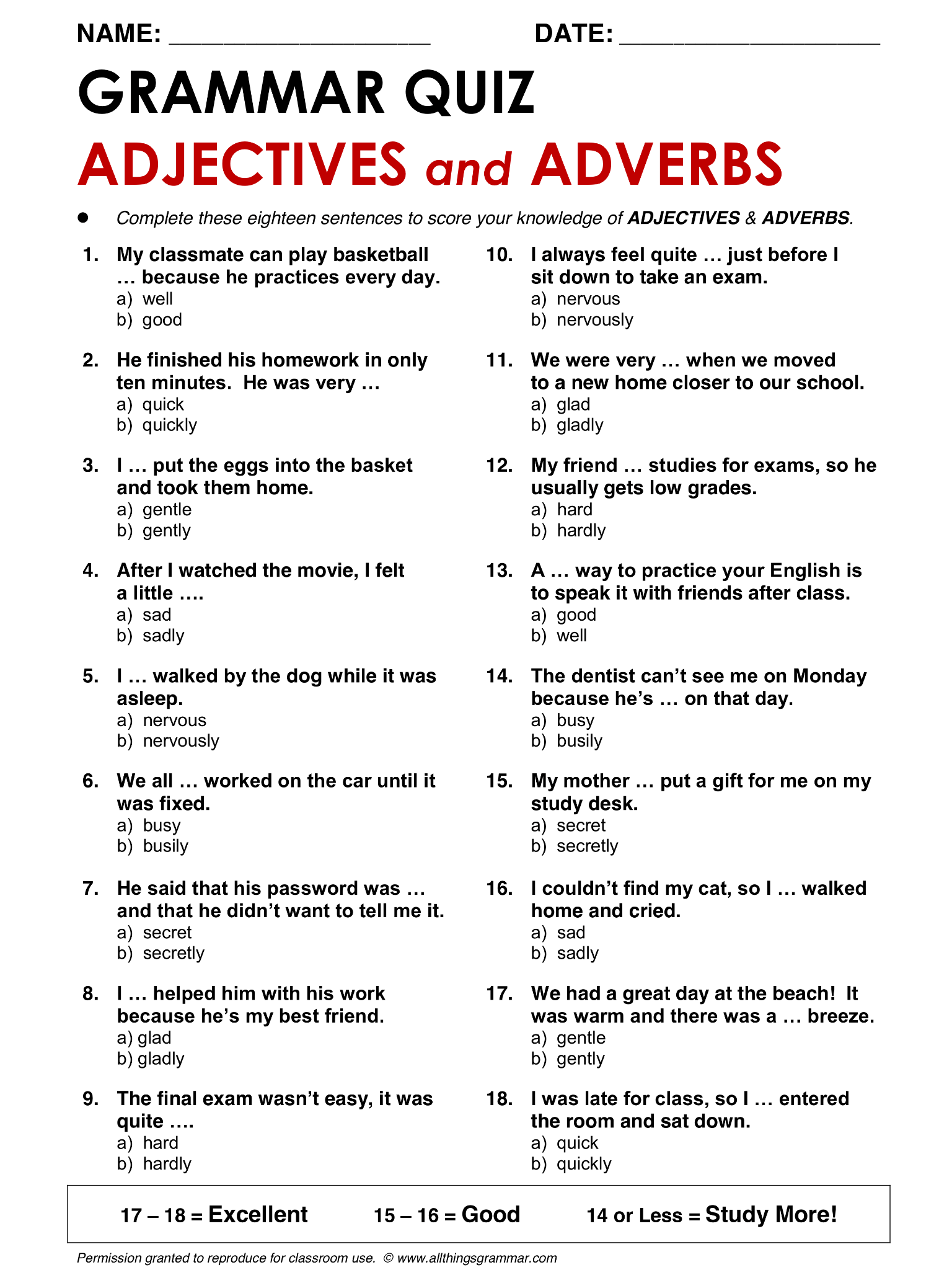 Adverbs Worksheet Over