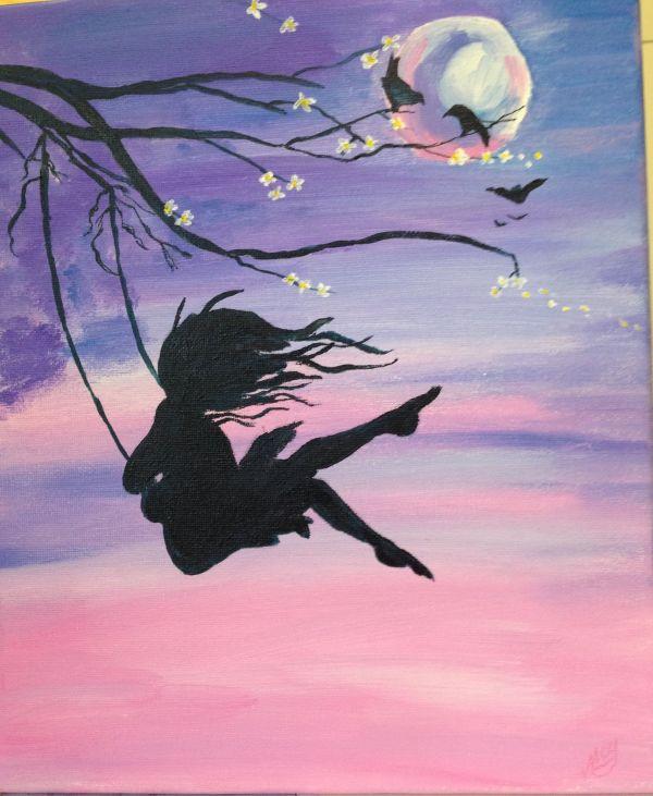 Love Girl Swing Paintings