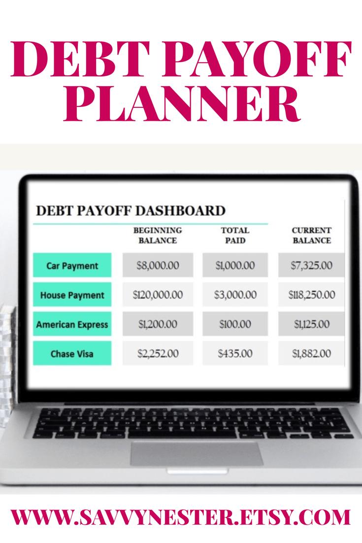 debt printable, finance plan, debt planner, finance goals, debt ...