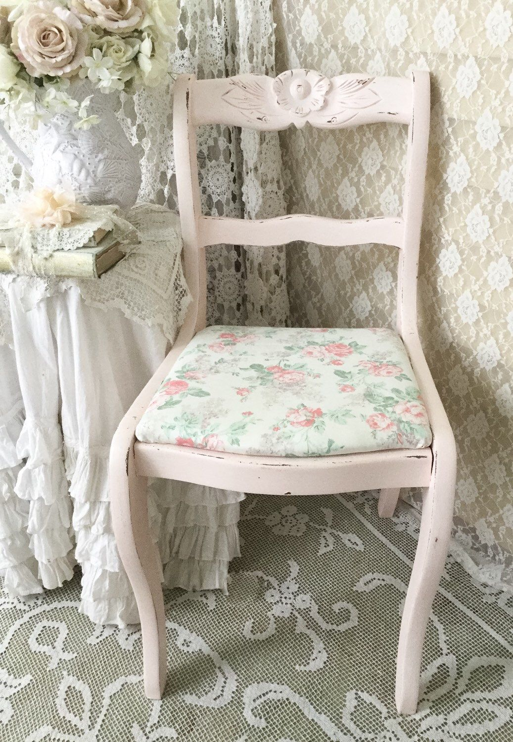 pink vanity chair cover ideas for party shabby carved rose and