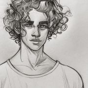 drawing of boy with curly hair