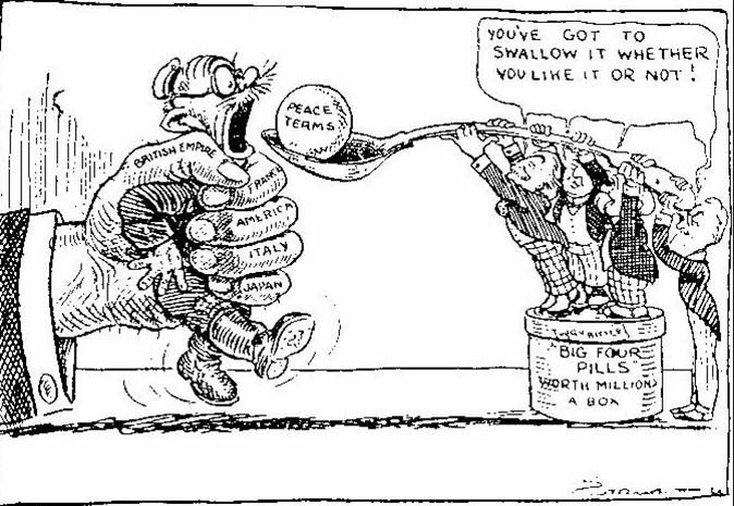 a political cartoon about the treaty of versallies is