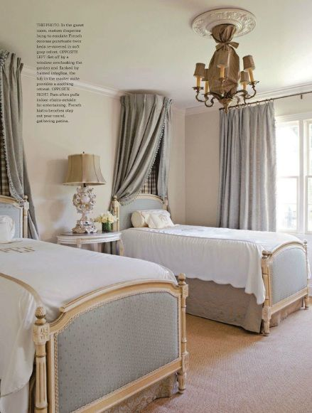Curtains above bed from Country French Magazine  INTERIOR
