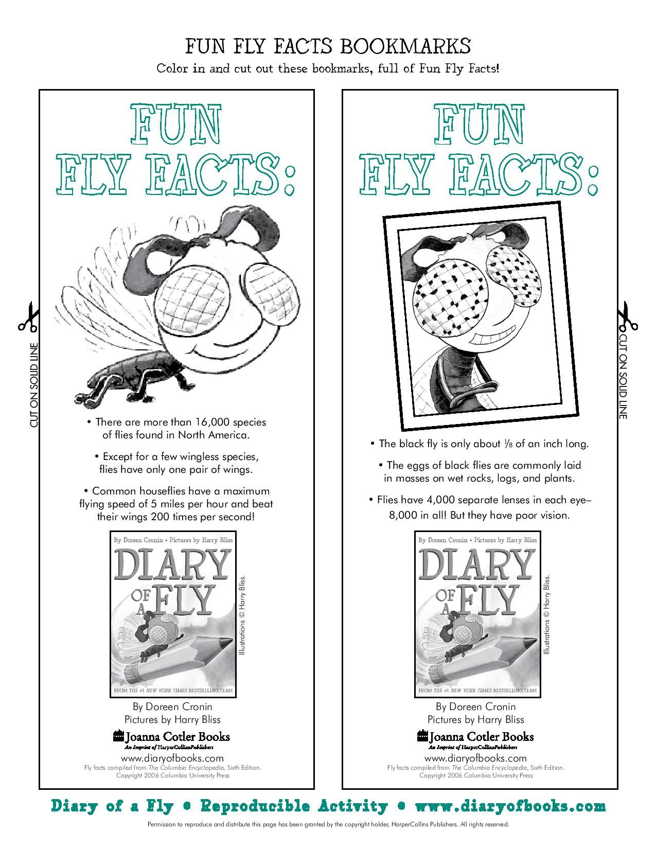 Print Your Own Diary Of A Fly Bookmarks