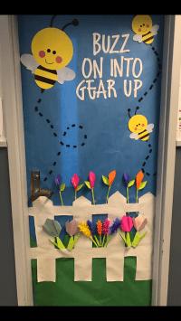 Classroom door door decoration spring Door decoration Buzz