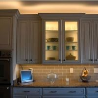 LED Lighting above cabinet and inside glass cabinet ...