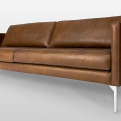 Tan Furniture Sofa Moving A Brown Leather With Steel Legs Article Echo