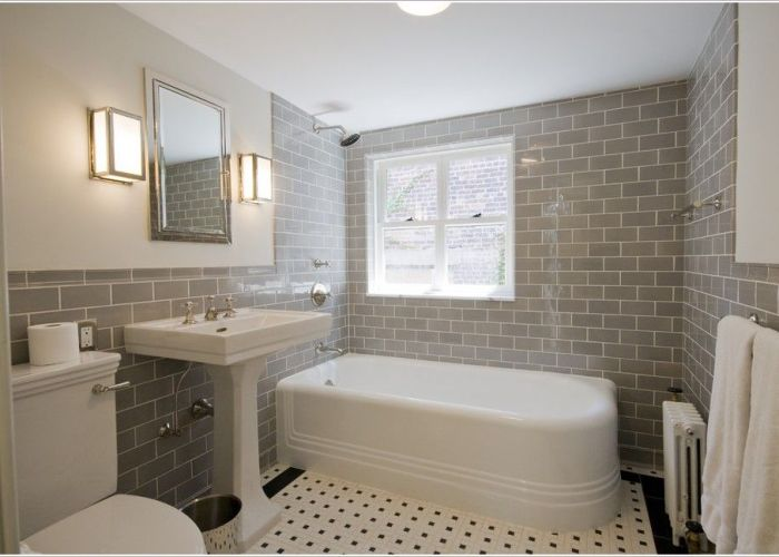 Grey subway tile shower pedestal sink thanks to linda yowell architects at http also