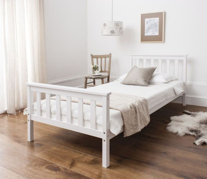 Single Bed In White 3ft Wooden Frame Home Furniture