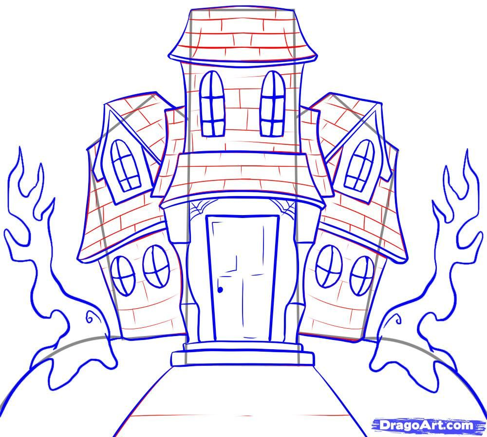 How To Draw A Haunted House Step By Step Halloween Seasonal