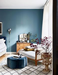 Blue wall and daybed in the bedroom of beautiful stockholm home amelia widell also rh pinterest