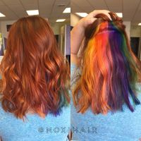 Rainbow hair peekaboo hair color vivid rainbow