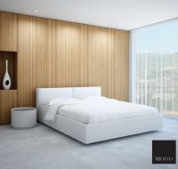 Girone white leather bed in a modern looking bedroom. Nice ...