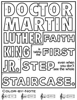 Color-By-Note MLK Music Coloring Sheets l Dr. Martin