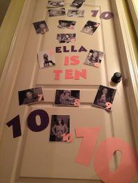 Birthday door decoration. Ten years old. Birth pictures ...