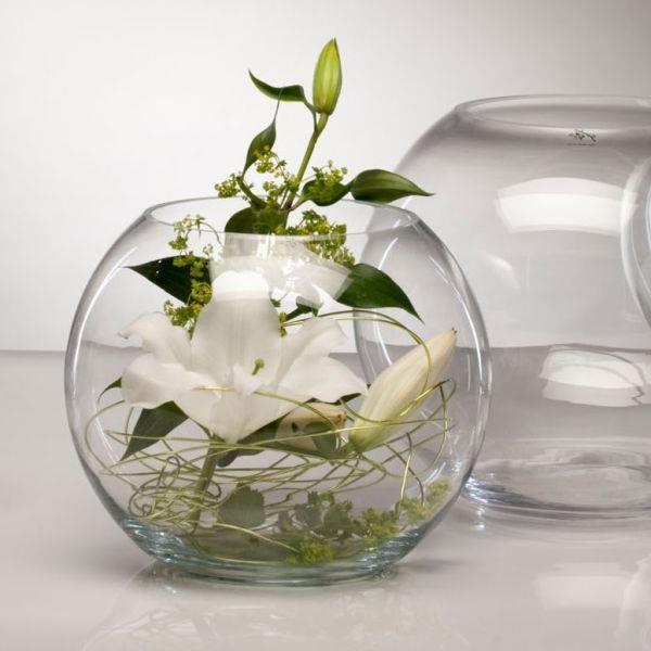 DekorationimGlasrundGlasDeko  deco florale  Pinterest  Rundes glas Glas und Dekoration