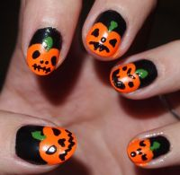 Halloween Pumpkin Nail Art | Halloween Pumpkin Designs ...