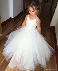 White Ball Gown Tulle Flower Girl Dresses for Vintage ...