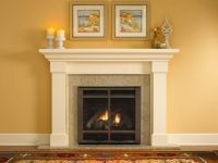 Amazing Cream Color Granite Fireplace Hearth And Combine ...