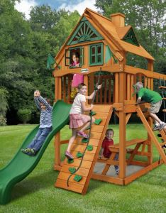 Gorilla playsets chateau tower treehouse playset also childrens outdoor rh pinterest