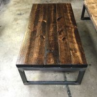Handmade solid coffee table with rough cut pine stained in ...