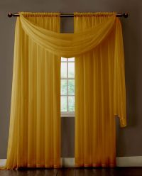 Warm Home Designs Pair of Caramel Gold Sheer Curtains or ...