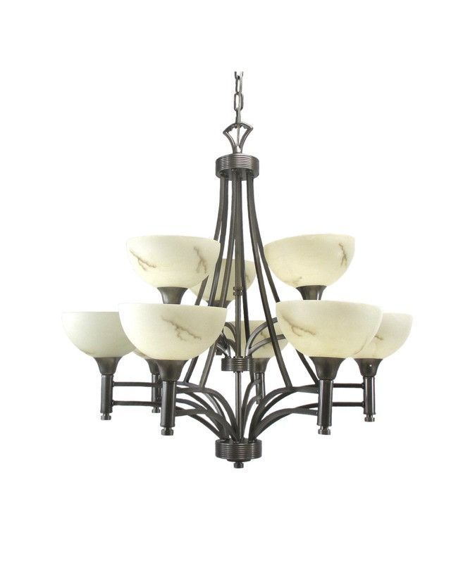 Triarch Lighting 29744 Bs Nine Light Hanging Chandelier In Brushed Steel Finish And Products