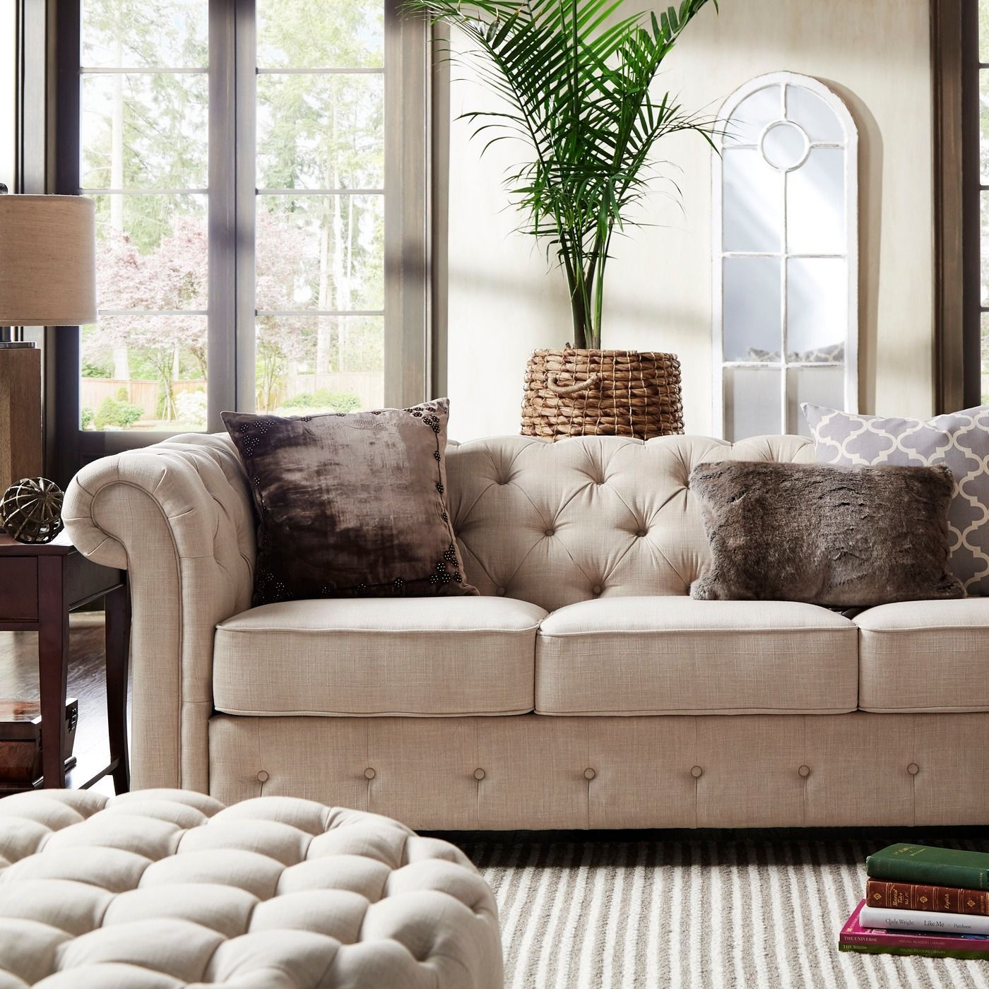 tribecca home knightsbridge beige linen tufted scroll arm chesterfield sofa barcalounger stetson add graceful seating to your with the