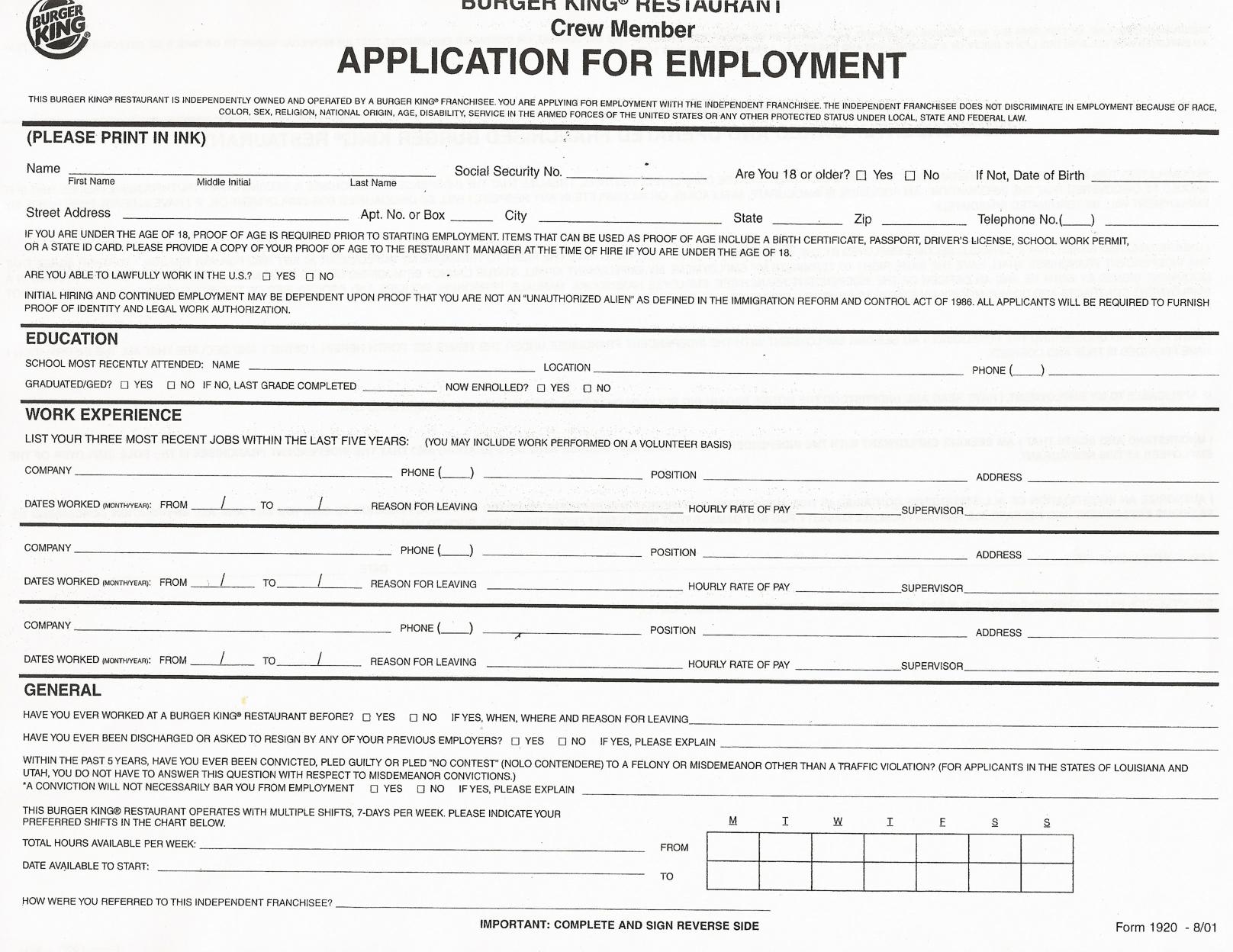 Job Application Printable Job Applications Printable Job