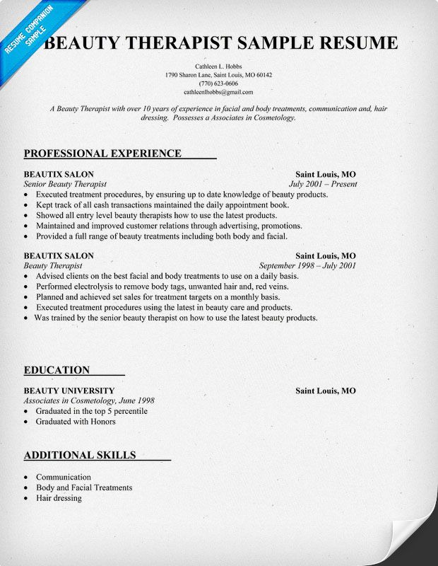 Beauty Therapist Resume Historiographical Essay Example Sample