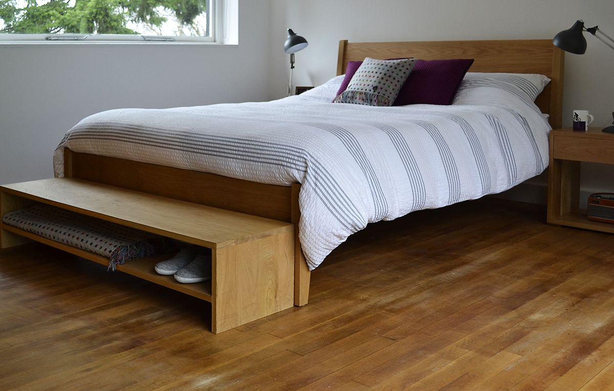 The Zanskar Bed Cube Bedside Tables And An End Of Bed Storage Bench In Oak All From Www