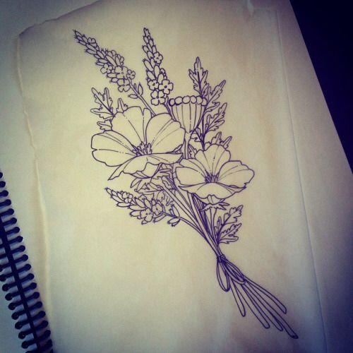 Birth Flower Bouquet Tattoo  Tattoos Pinterest